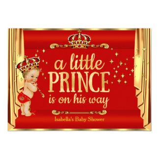 O ouro vermelho real drapeja o louro do príncipe convite 12.7 x 17.78cm