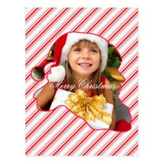 O papai noel cortou o perfil/o cartão de Natal bas Cartão Postal