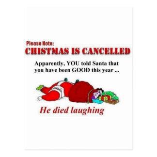 O papai noel morreu rir cartão postal