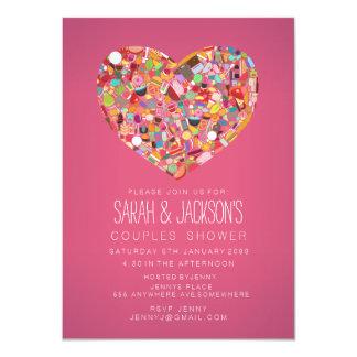 o partido cor-de-rosa do coração de Foodies do chá Convite 11.30 X 15.87cm