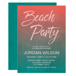 O partido coral da praia do aniversário do convite 12.7 x 17.78cm