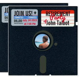 O partido de aposentadoria retro de 5,25 disquetes convite quadrado 13.35 x 13.35cm