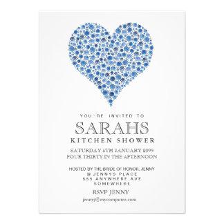 O partido de chá de panela azul do coração dos ros convites personalizado
