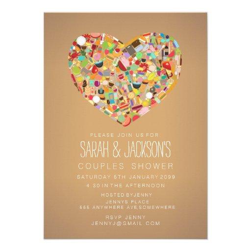 O partido do coração de Foodies do chá dos casais  Convite Personalizados