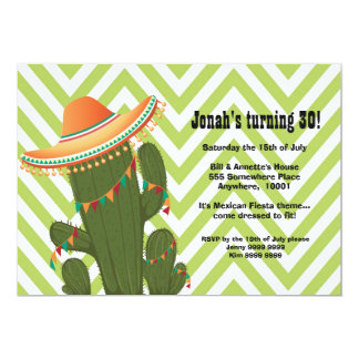 O partido mexicano do Sombrero do cacto da festa Convite 12.7 X 17.78cm