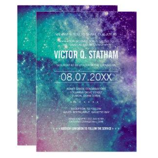 O partido Pastel de Mitzvah do bar da galáxia Convite 12.7 X 17.78cm
