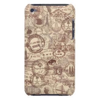 O passaporte do vintage carimba a capa de ipod