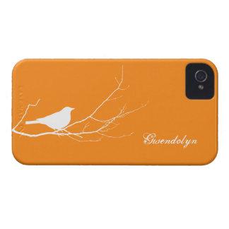 O pássaro empoleirou-se no chique alaranjado branc capa iPhone 4