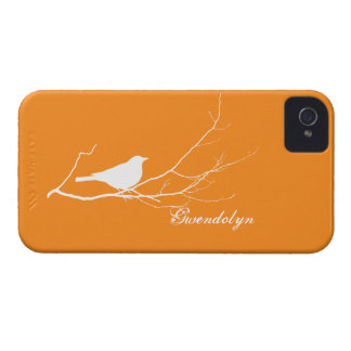 O pássaro empoleirou-se no chique alaranjado capas para iPhone 4 Case-Mate