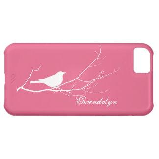 O pássaro empoleirou-se no chique cor-de-rosa bran capa iphone5C