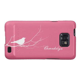 O pássaro empoleirou-se no chique cor-de-rosa capas galaxy SII