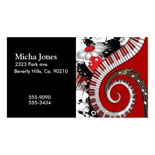 O piano fecha redemoinhos florais do Grunge das no Cartão De Visita