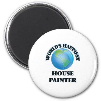O pintor de casa o mais feliz do mundo ímã redondo 5.08cm