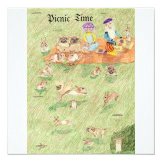 O piquenique e The Game do couro cru - e - busca Convite Quadrado 13.35 X 13.35cm