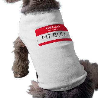 O pitbull engraçado meu nome é camiseta de cão do  camisa sem mangas para cachorro