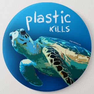 O plástico mata o botão da tartaruga do oceano bóton redondo 15.24cm