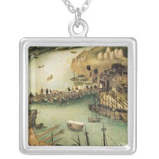 O porto de Sevilha, c.1590 Colar Banhado A Prata