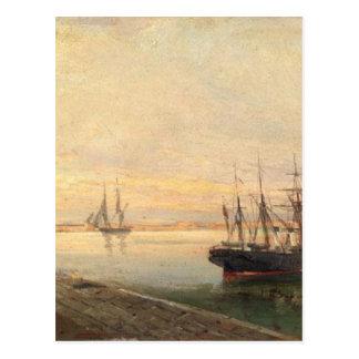 O porto de Volos por Konstantinos Volanakis Cartão Postal