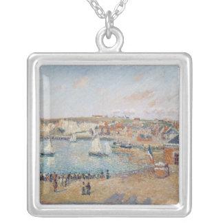 O porto exterior em Dieppe, 1902 Colar Banhado A Prata