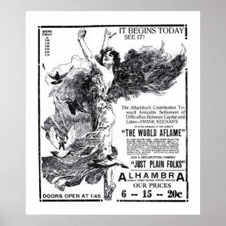 O poster 1919 do anúncio do filme do vintage do m