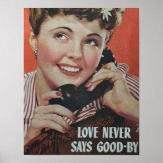 O Poster-Amor retro nunca diz adeus