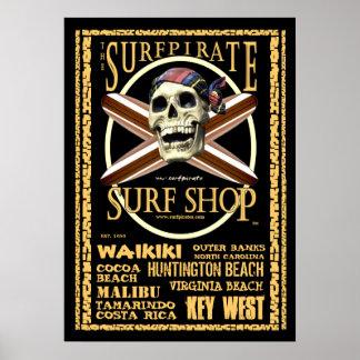 O poster da loja do surf