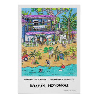 O poster do escritório do parque marinho
