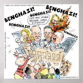 O poster engraçado do baralhamento de Benghazi