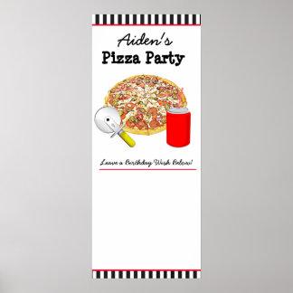 O poster personalizado da festa de aniversário da