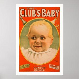 O poster vintage do teatro do jogo do bebê do pôster