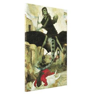 O praga por Arnold Bocklin, simbolismo do vintage Impressão Em Canvas