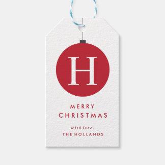 O presente da bola do Natal do monograma etiqueta