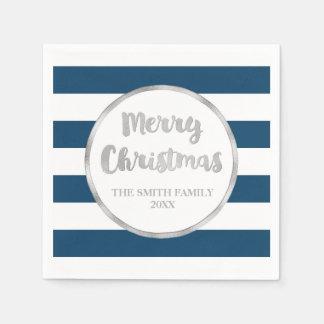 O preto azul listra o guardanapo do Feliz Natal