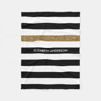 O preto moderno listra o Glitz e o nome do ouro do Cobertor De Lã