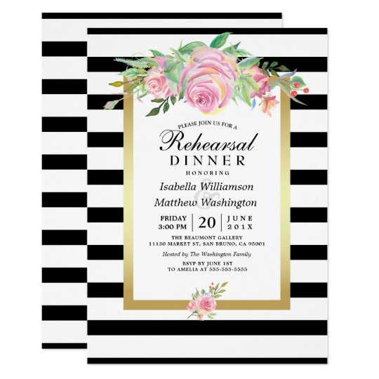 O preto moderno listra o jantar de ensaio floral convite 12.7 x 17.78cm