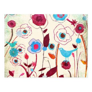 O primavera colorido floresce a laranja azul do cartão postal