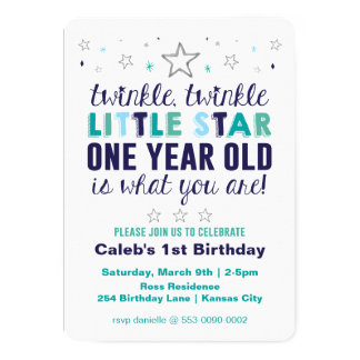 O primeiro aniversário de pouco menino da estrela convite 12.7 x 17.78cm