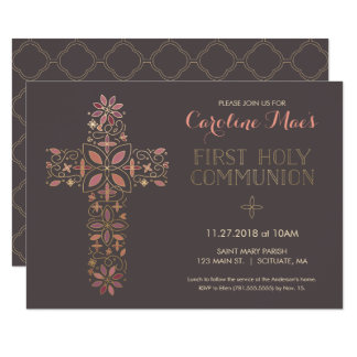 O primeiro convite do comunhão santamente, cruz do
