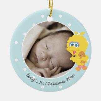 O primeiro Natal do bebê grande do pássaro | - Ornamento De Cerâmica Redondo