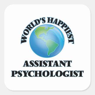 O psicólogo assistente o mais feliz do mundo adesivo quadrado