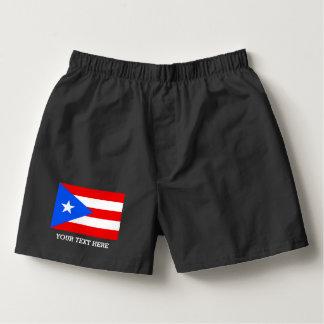 O pugilista porto-riquenho da bandeira shorts o samba-canção