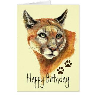 O puma segue o cartão do aniversário