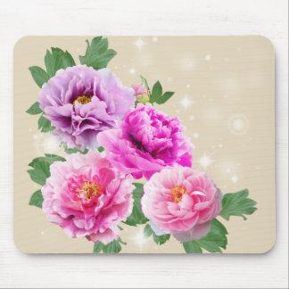 O purle cor-de-rosa floresce peônias mouse pad