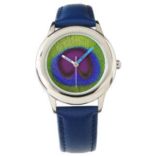 O relógio verde, azul & roxo da criança do pavão