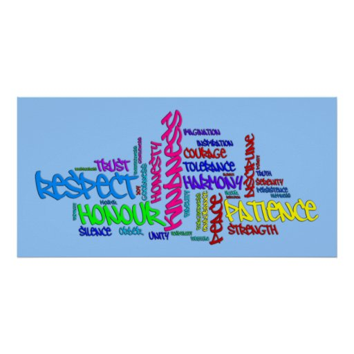 O respeito, bondade, confiança, virtudes exprime o posters