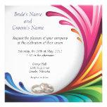 O respingo de roda elegante do arco-íris convida - convite personalizados