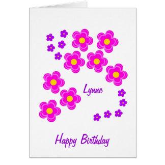 O rosa bonito floresce o cartão de aniversário