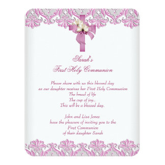 ø Rosa branco das primeiras meninas da cruz do Convite 10.79 X 13.97cm