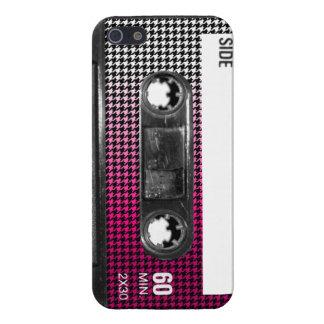 O rosa desvanece-se gaveta de Houndstooth da etiqu iPhone 5 Capas
