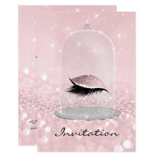 O rosa do brilho cora brilho do olho dos chicotes convite 8.89 x 12.7cm